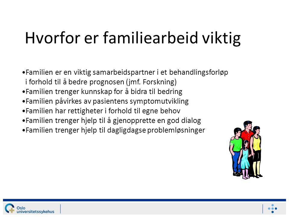 Hvorfor er familiearbeid viktig Familien er en viktig samarbeidspartner i et behandlingsforløp i forhold til å bedre prognosen (jmf. Forskning) Famili