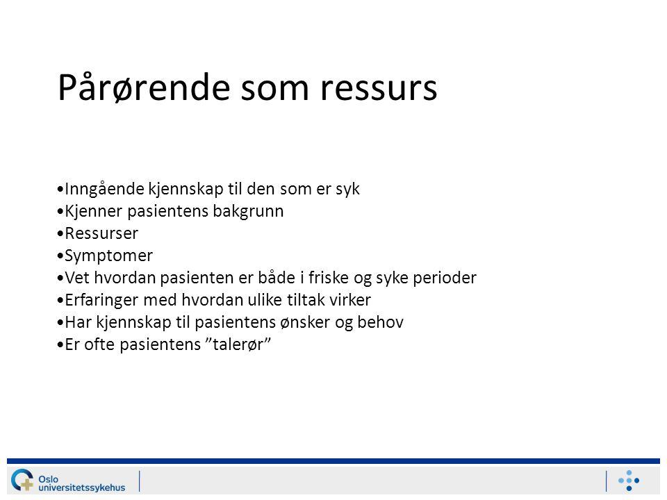 Pårørende som ressurs Inngående kjennskap til den som er syk Kjenner pasientens bakgrunn Ressurser Symptomer Vet hvordan pasienten er både i friske og