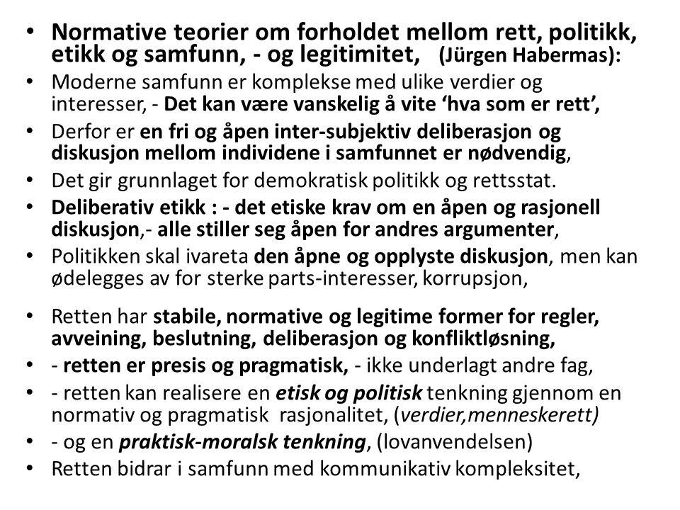 Normative teorier om forholdet mellom rett, politikk, etikk og samfunn, - og legitimitet, (Jürgen Habermas): Moderne samfunn er komplekse med ulike verdier og interesser, - Det kan være vanskelig å vite 'hva som er rett', Derfor er en fri og åpen inter-subjektiv deliberasjon og diskusjon mellom individene i samfunnet er nødvendig, Det gir grunnlaget for demokratisk politikk og rettsstat.