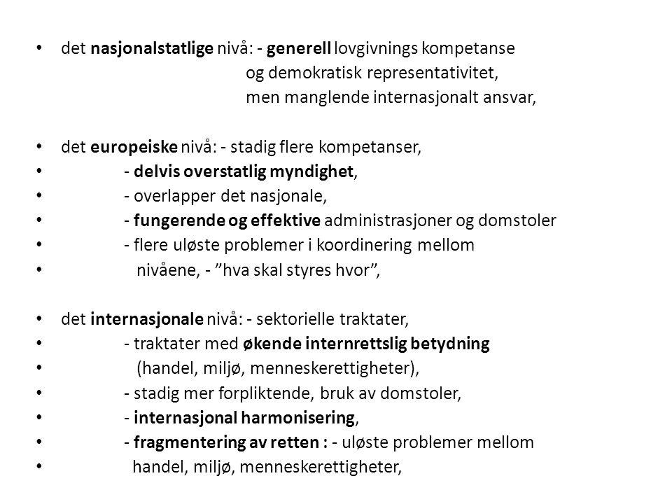 det nasjonalstatlige nivå: - generell lovgivnings kompetanse og demokratisk representativitet, men manglende internasjonalt ansvar, det europeiske nivå: - stadig flere kompetanser, - delvis overstatlig myndighet, - overlapper det nasjonale, - fungerende og effektive administrasjoner og domstoler - flere uløste problemer i koordinering mellom nivåene, - hva skal styres hvor , det internasjonale nivå: - sektorielle traktater, - traktater med økende internrettslig betydning (handel, miljø, menneskerettigheter), - stadig mer forpliktende, bruk av domstoler, - internasjonal harmonisering, - fragmentering av retten : - uløste problemer mellom handel, miljø, menneskerettigheter,