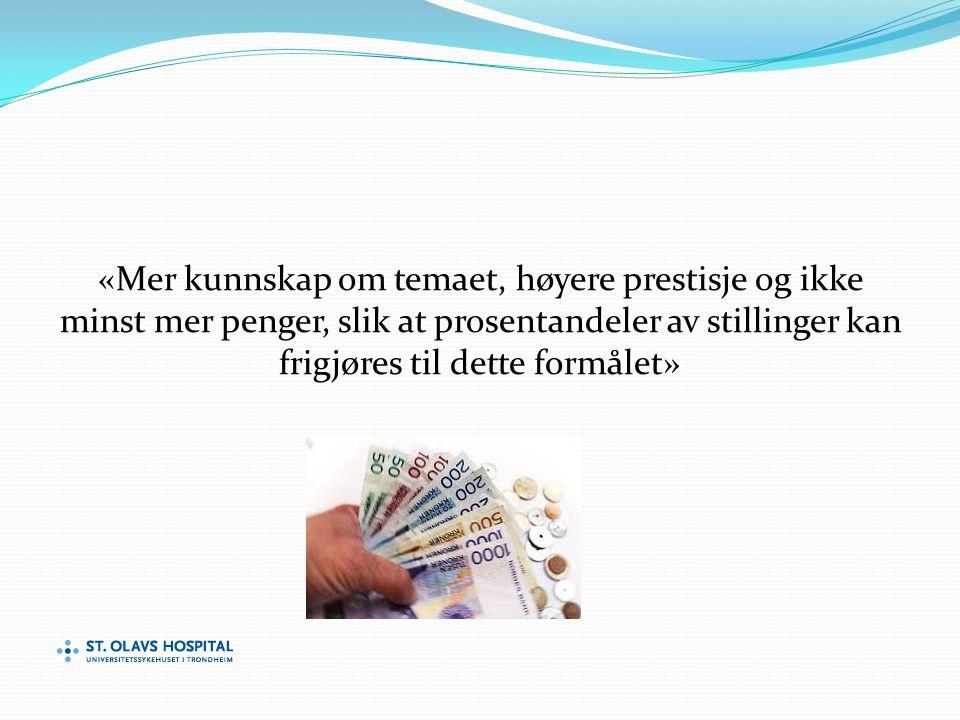 «Mer kunnskap om temaet, høyere prestisje og ikke minst mer penger, slik at prosentandeler av stillinger kan frigjøres til dette formålet»