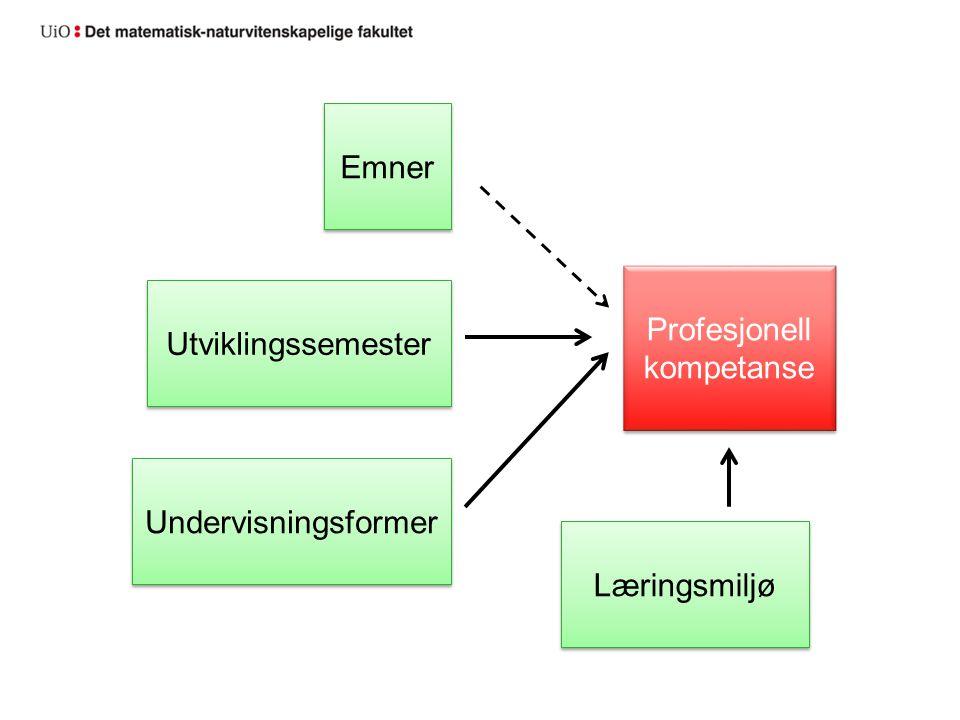 Undervisningsformer Utviklingssemester Emner Profesjonell kompetanse Læringsmiljø