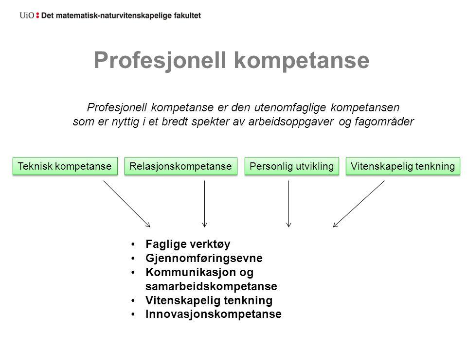 Profesjonell kompetanse Profesjonell kompetanse er den utenomfaglige kompetansen som er nyttig i et bredt spekter av arbeidsoppgaver og fagområder Tek