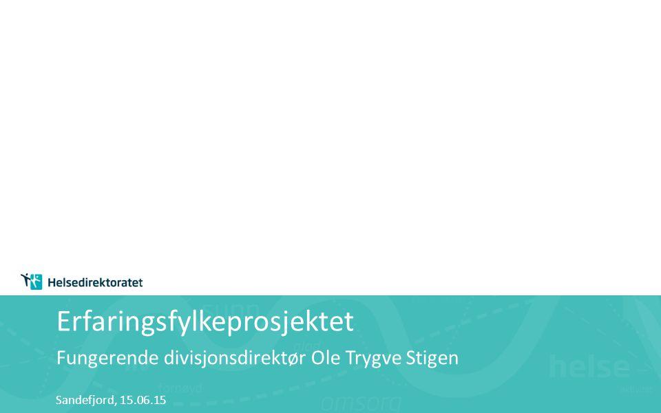 Erfaringsfylkeprosjektet Fungerende divisjonsdirektør Ole Trygve Stigen Sandefjord, 15.06.15