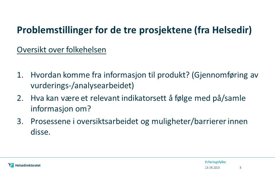 Problemstillinger for de tre prosjektene (fra Helsedir) Oversikt over folkehelsen 1.Hvordan komme fra informasjon til produkt? (Gjennomføring av vurde