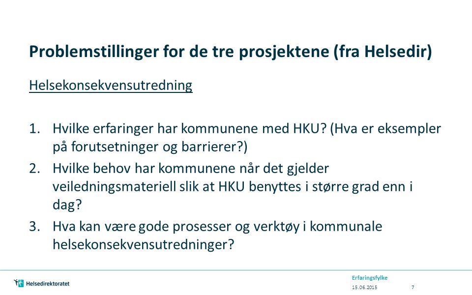 Problemstillinger for de tre prosjektene (fra Helsedir) Helsekonsekvensutredning 1.Hvilke erfaringer har kommunene med HKU? (Hva er eksempler på forut