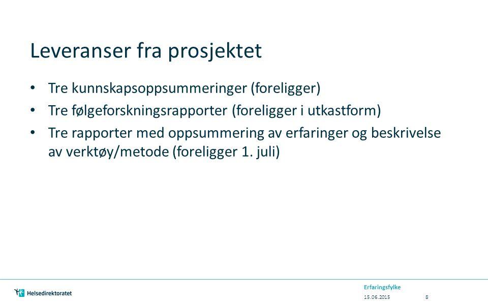 Kunnskapsoppsummeringer fra forskningsmiljøene NIBR-rapport 2014:23 «Tilnærminger, modeller og verktøy i oversiktsarbeidet» - http://www.nibr.no/pub3775http://www.nibr.no/pub3775 Høgskolen i Østfold: Om helsekonsekvensutredninger – en oppsummering av norske og internasjonale kunnskaper» - http://www.hiof.no/forskning/aktuelt?displayitem=4092&mo dule=news&newscat=fou http://www.hiof.no/forskning/aktuelt?displayitem=4092&mo dule=news&newscat=fou NTNU Samfunnsforskning: «Fra plan til praksis – kunnskapsoppsummering» - http://samforsk.no/Sider/Prosjekter/Folkehelse-i-plan.aspx http://samforsk.no/Sider/Prosjekter/Folkehelse-i-plan.aspx 15.06.2015 Erfaringsfylke 9