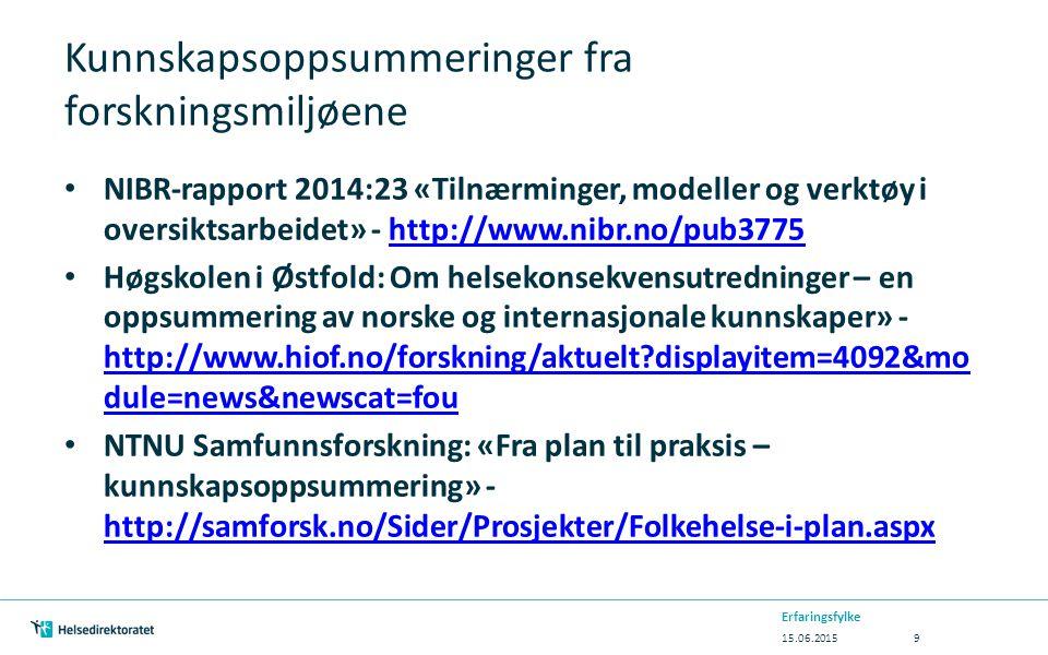 Kunnskapsoppsummeringer fra forskningsmiljøene NIBR-rapport 2014:23 «Tilnærminger, modeller og verktøy i oversiktsarbeidet» - http://www.nibr.no/pub3775http://www.nibr.no/pub3775 Høgskolen i Østfold: Om helsekonsekvensutredninger – en oppsummering av norske og internasjonale kunnskaper» - http://www.hiof.no/forskning/aktuelt displayitem=4092&mo dule=news&newscat=fou http://www.hiof.no/forskning/aktuelt displayitem=4092&mo dule=news&newscat=fou NTNU Samfunnsforskning: «Fra plan til praksis – kunnskapsoppsummering» - http://samforsk.no/Sider/Prosjekter/Folkehelse-i-plan.aspx http://samforsk.no/Sider/Prosjekter/Folkehelse-i-plan.aspx 15.06.2015 Erfaringsfylke 9