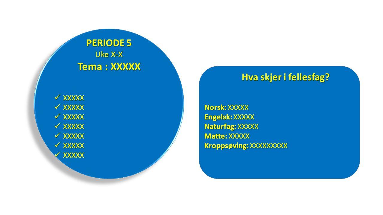 XXXXX XXXXX PERIODE 5 Uke X-X Tema : XXXXX Hva skjer i fellesfag.