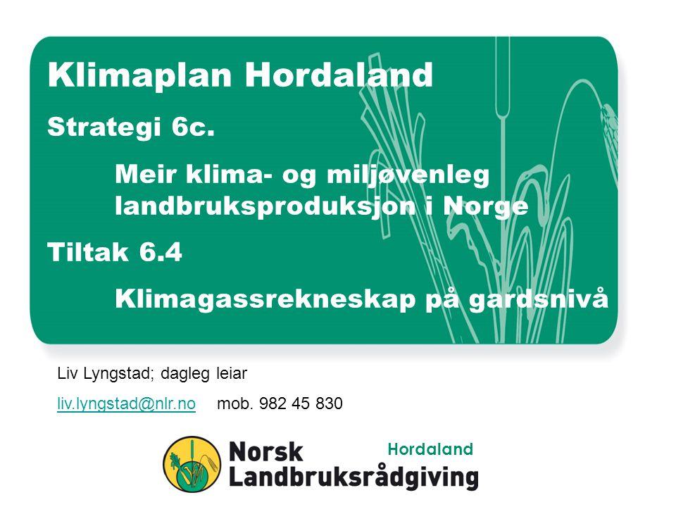 Klimaplan Hordaland Strategi 6c. Meir klima- og miljøvenleg landbruksproduksjon i Norge Tiltak 6.4 Klimagassrekneskap på gardsnivå Liv Lyngstad; dagle