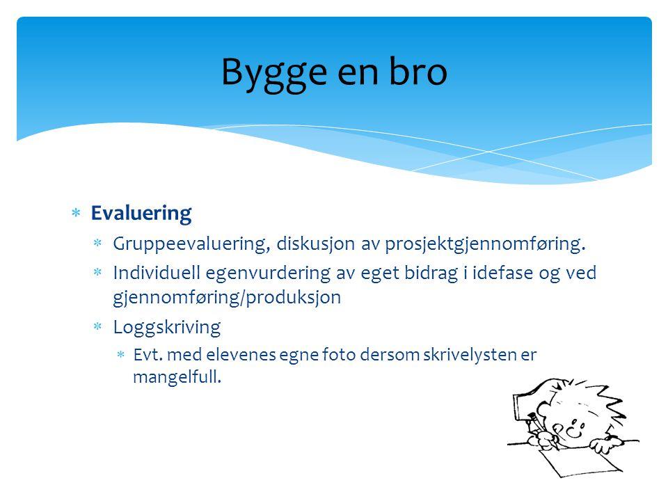  Evaluering  Gruppeevaluering, diskusjon av prosjektgjennomføring.  Individuell egenvurdering av eget bidrag i idefase og ved gjennomføring/produks