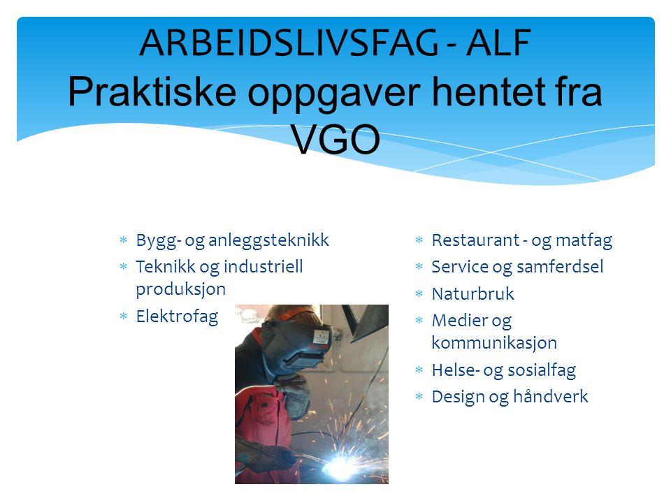 ARBEIDSLIVSFAG - ALF Praktiske oppgaver hentet fra VGO  Bygg- og anleggsteknikk  Teknikk og industriell produksjon  Elektrofag  Restaurant - og ma