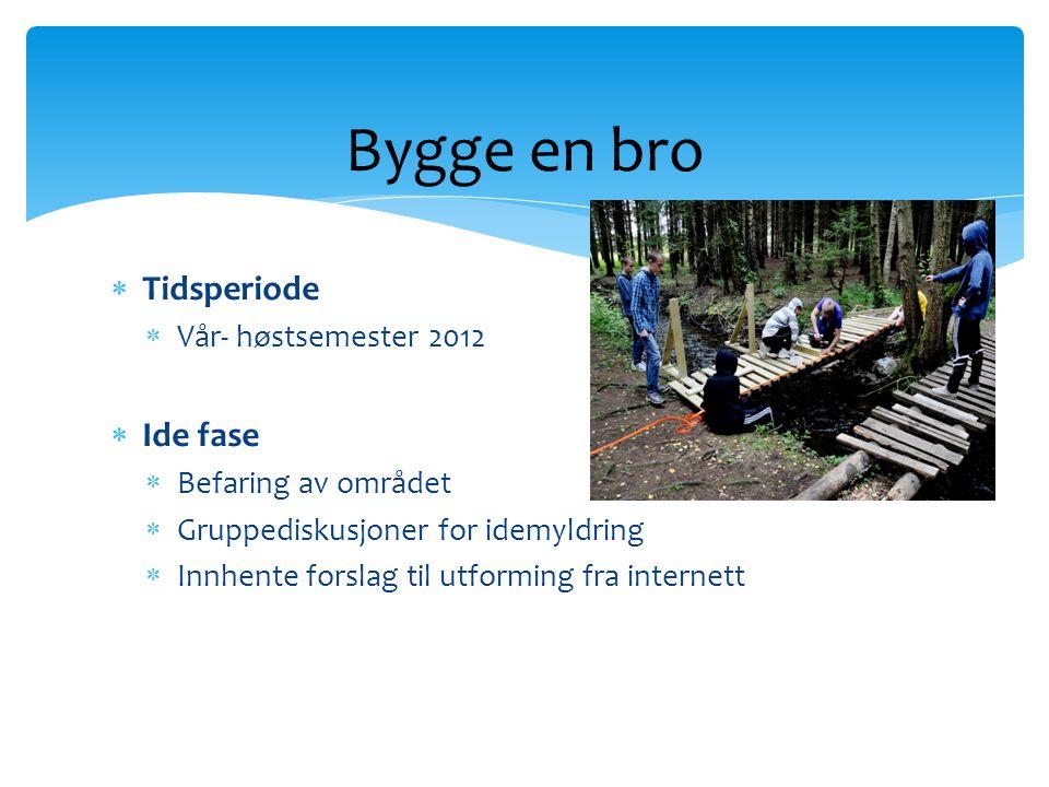  Tidsperiode  Vår- høstsemester 2012  Ide fase  Befaring av området  Gruppediskusjoner for idemyldring  Innhente forslag til utforming fra inter