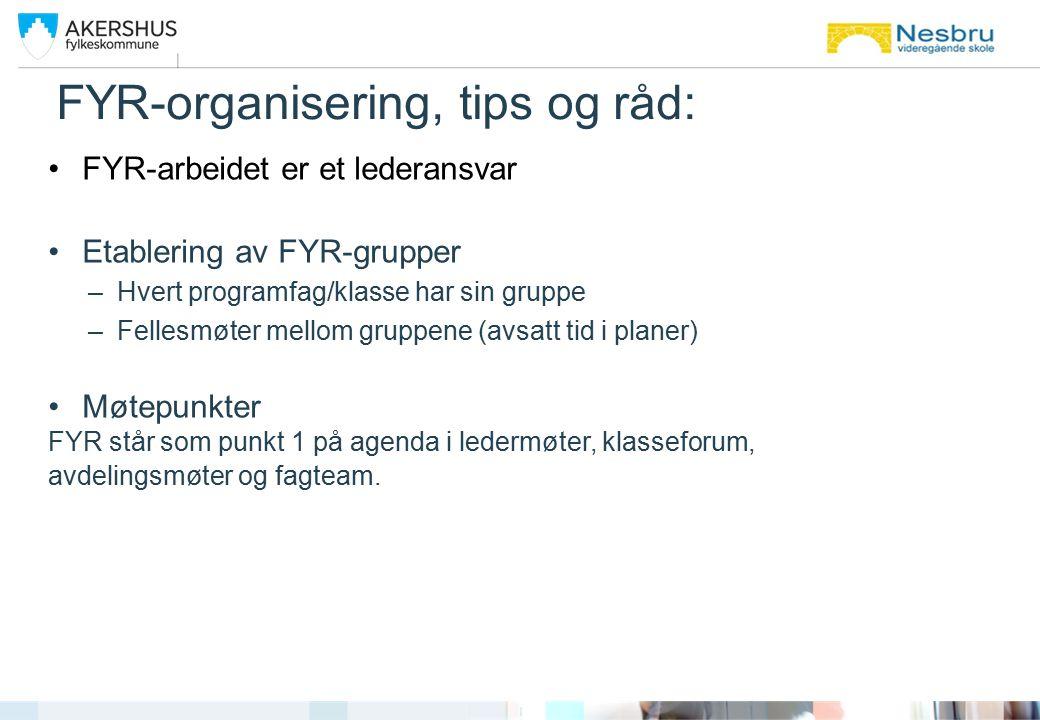 FYR-organisering, tips og råd: FYR-arbeidet er et lederansvar Etablering av FYR-grupper –Hvert programfag/klasse har sin gruppe –Fellesmøter mellom gr