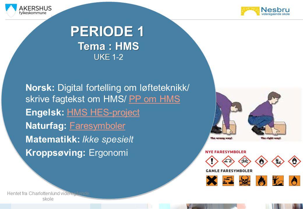 Norsk: Digital fortelling om løfteteknikk/ skrive fagtekst om HMS/ PP om HMSPP om HMS Engelsk: HMS HES-projectHMS HES-project Naturfag: FaresymbolerFa
