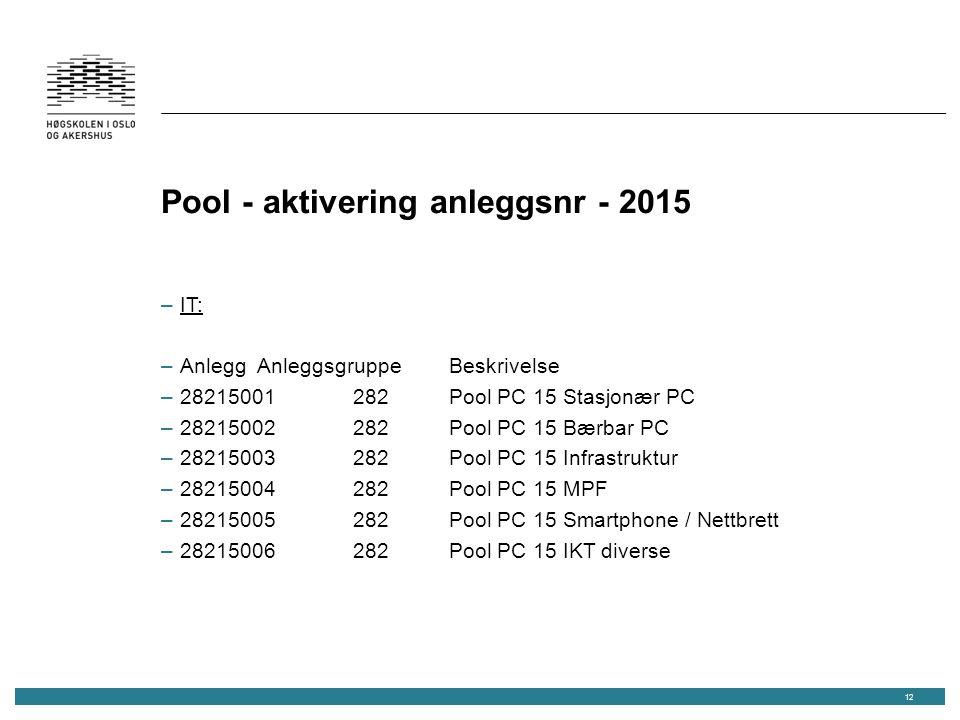 Pool - aktivering anleggsnr - 2015 –IT: –AnleggAnleggsgruppeBeskrivelse –28215001282Pool PC 15 Stasjonær PC –28215002282Pool PC 15 Bærbar PC –28215003282Pool PC 15 Infrastruktur –28215004282Pool PC 15 MPF –28215005282Pool PC 15 Smartphone / Nettbrett –28215006282Pool PC 15 IKT diverse 12