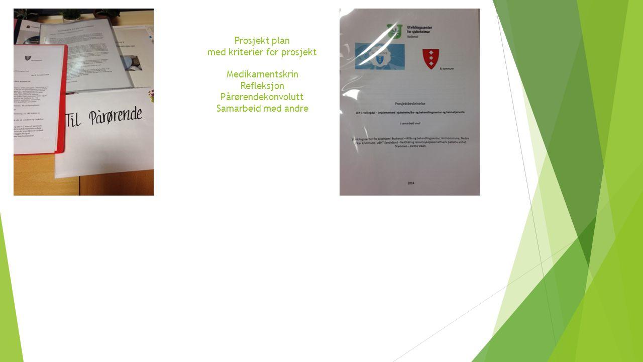 Prosjekt plan med kriterier for prosjekt Medikamentskrin Refleksjon Pårørendekonvolutt Samarbeid med andre