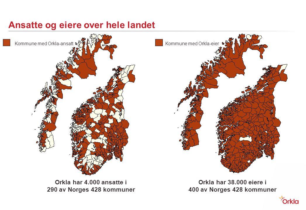 Ansatte og eiere over hele landet Kommune med Orkla-ansattKommune med Orkla-eier Orkla har 38.000 eiere i 400 av Norges 428 kommuner Orkla har 4.000 a
