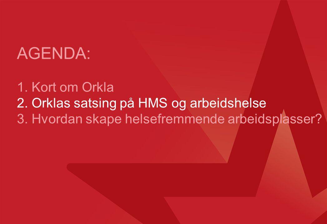 Orklas HMS-ambisjoner SikkerhetArbeidshelseMiljø Vi skal utvikle helsefremmende arbeidsplasser.