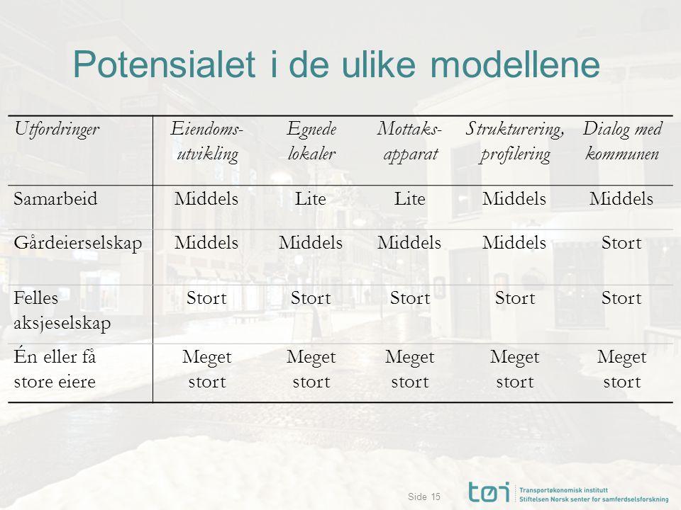 Side Potensialet i de ulike modellene 15 UtfordringerEiendoms- utvikling Egnede lokaler Mottaks- apparat Strukturering, profilering Dialog med kommune