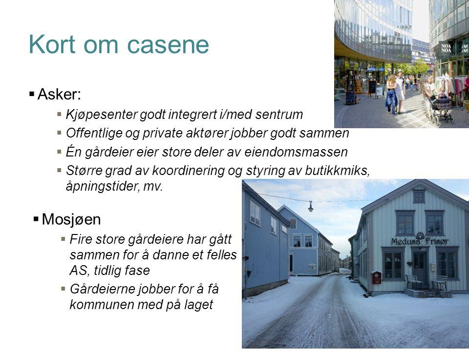 Side Kort om casene  Asker:  Kjøpesenter godt integrert i/med sentrum  Offentlige og private aktører jobber godt sammen  Én gårdeier eier store de