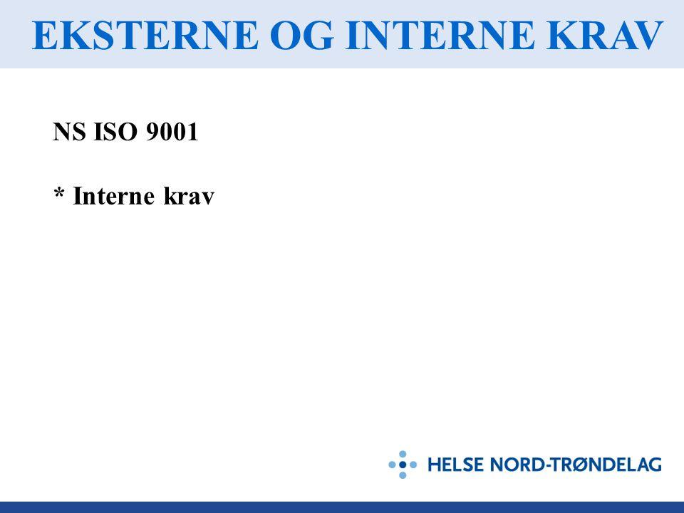EKSTERNE OG INTERNE KRAV NS ISO 9001 * Interne krav