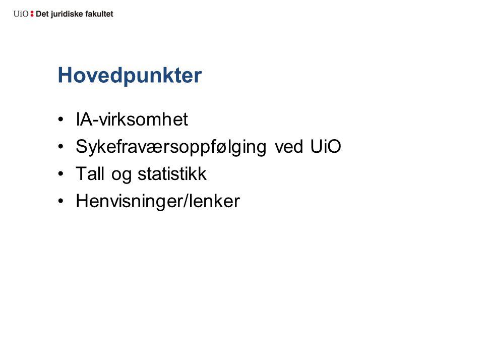 Hovedpunkter IA-virksomhet Sykefraværsoppfølging ved UiO Tall og statistikk Henvisninger/lenker
