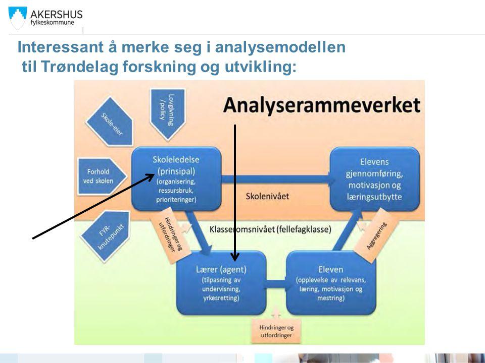 Interessant å merke seg i analysemodellen til Trøndelag forskning og utvikling: