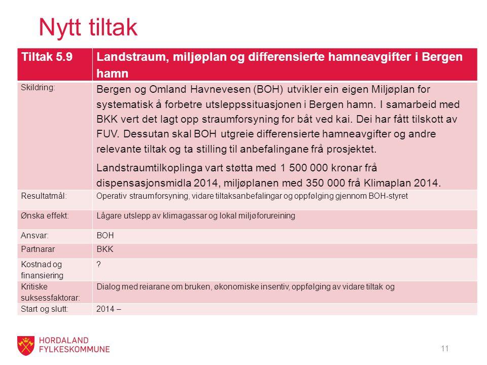 Nytt tiltak Tiltak 5.9 Landstraum, miljøplan og differensierte hamneavgifter i Bergen hamn Skildring: Bergen og Omland Havnevesen (BOH) utvikler ein eigen Miljøplan for systematisk å forbetre utsleppssituasjonen i Bergen hamn.