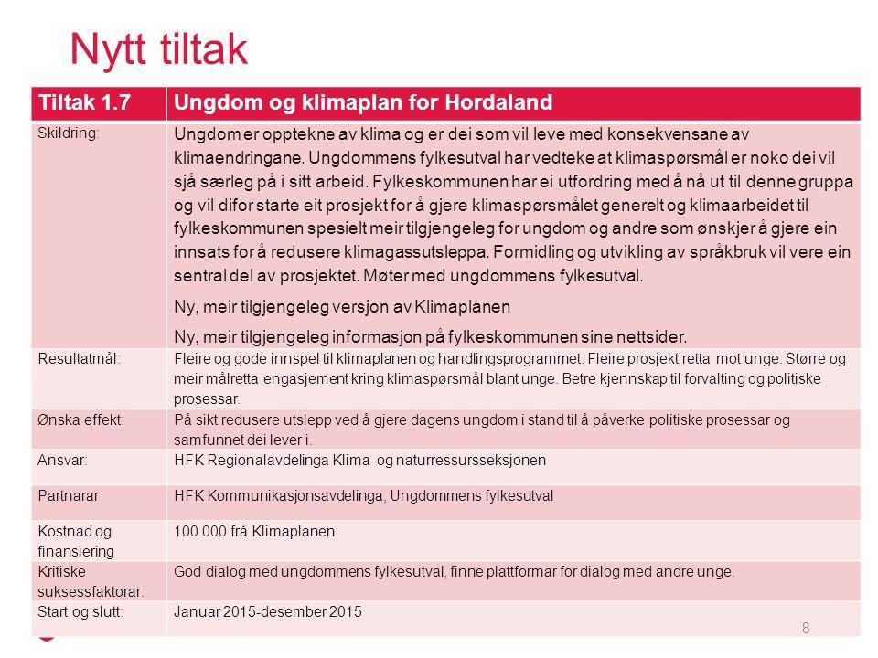 Nytt tiltak Tiltak 3.1Målestasjon for solinnstråling Skildring: Etablere ein målestasjon for solinnstråling på Flesland som kan supplere eksisterande stasjon i sentrum.