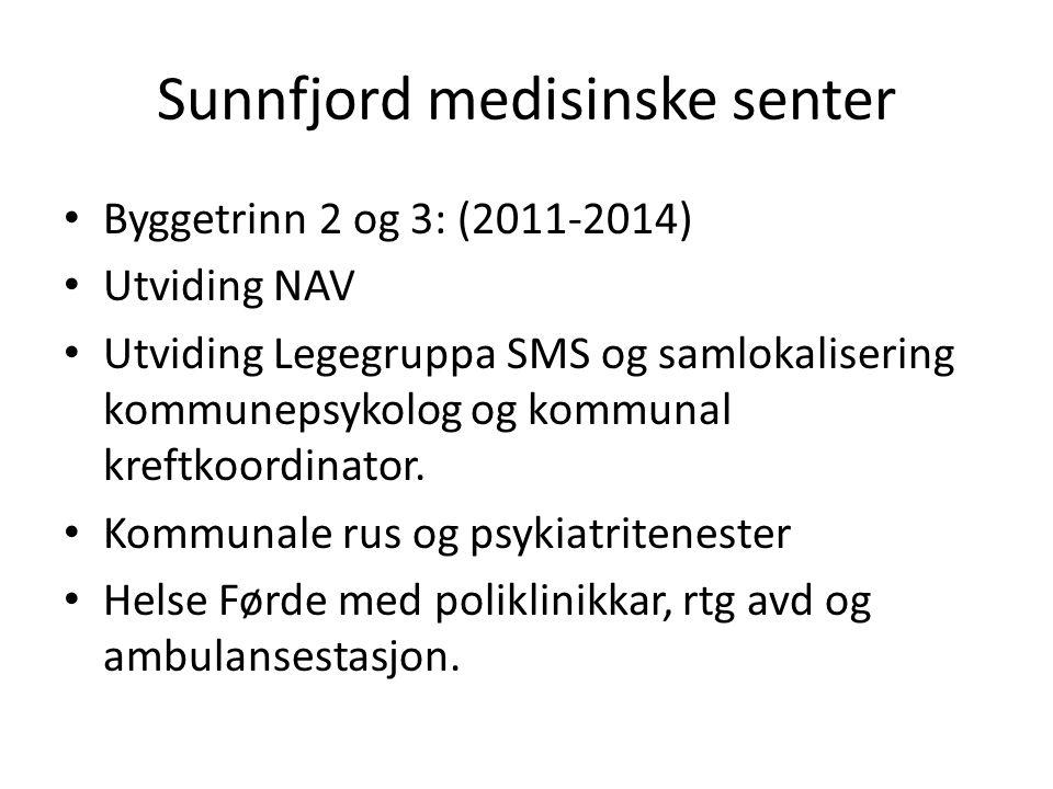 Sunnfjord medisinske senter Byggetrinn 2 og 3: (2011-2014) Utviding NAV Utviding Legegruppa SMS og samlokalisering kommunepsykolog og kommunal kreftkoordinator.