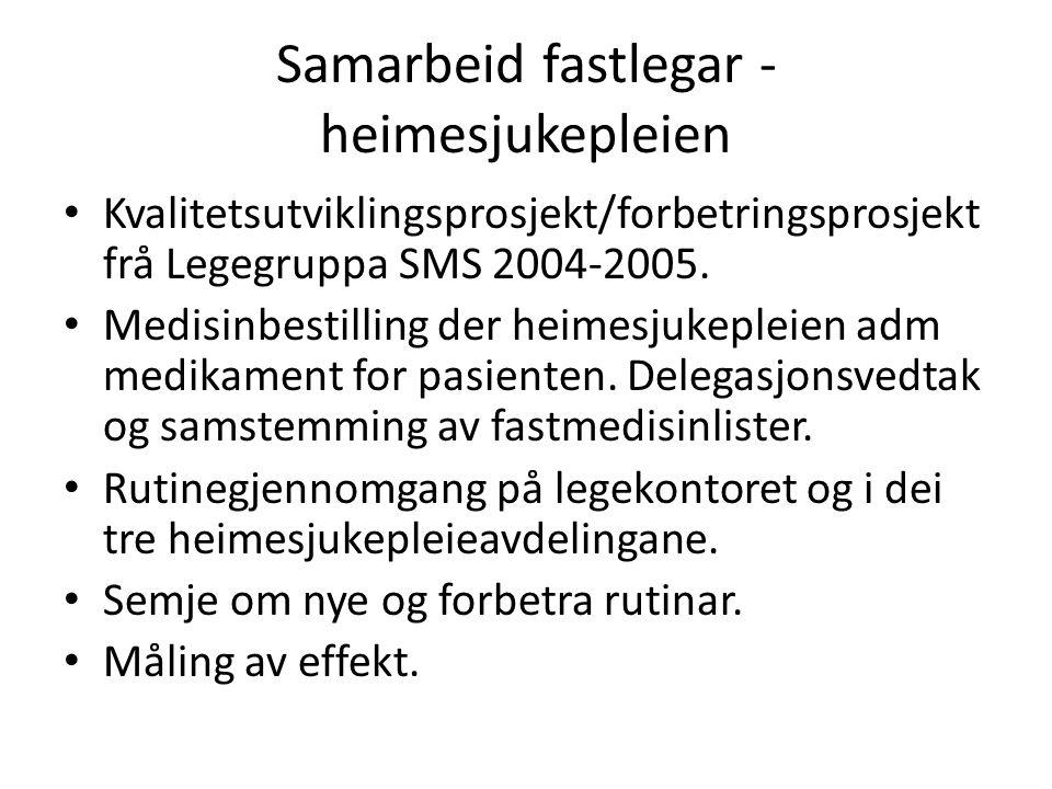 Samarbeid fastlegar - heimesjukepleien Kvalitetsutviklingsprosjekt/forbetringsprosjekt frå Legegruppa SMS 2004-2005. Medisinbestilling der heimesjukep