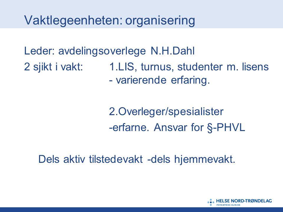 Vaktlegeenheten: organisering Leder: avdelingsoverlege N.H.Dahl 2 sjikt i vakt: 1.LIS, turnus, studenter m. lisens - varierende erfaring. 2.Overleger/