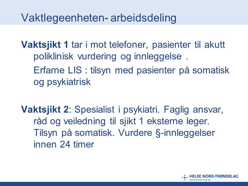 Vaktlegeenheten- arbeidsdeling Vaktsjikt 1 tar i mot telefoner, pasienter til akutt poliklinisk vurdering og innleggelse. Erfarne LIS : tilsyn med pas