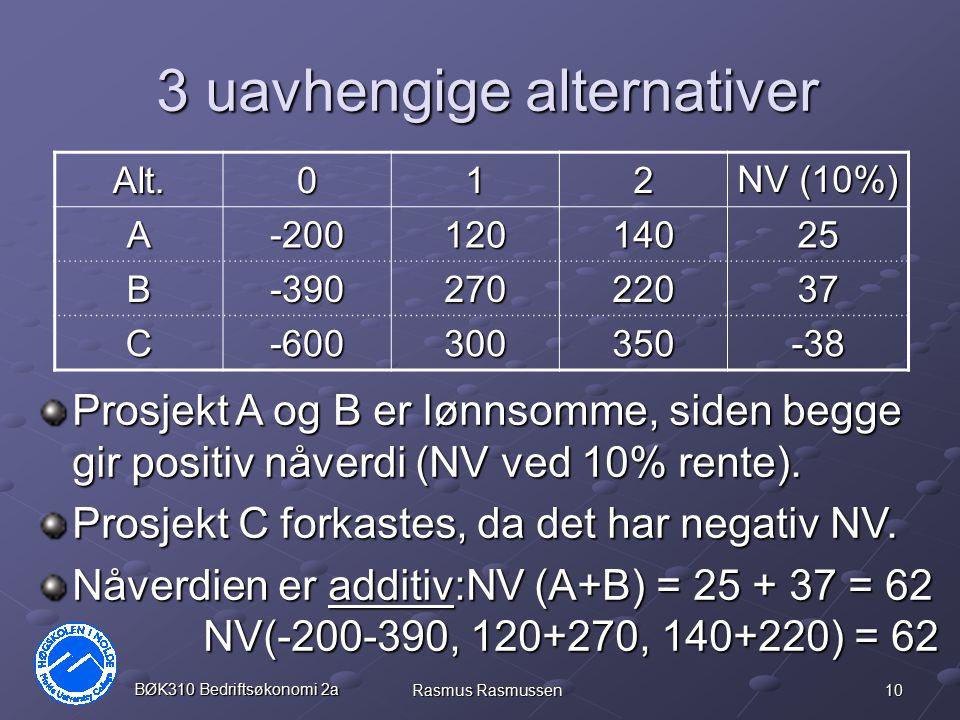 10 BØK310 Bedriftsøkonomi 2a Rasmus Rasmussen 3 uavhengige alternativer Alt.012 NV (10%) A-20012014025 B-39027022037 C-600300350-38 Prosjekt A og B er