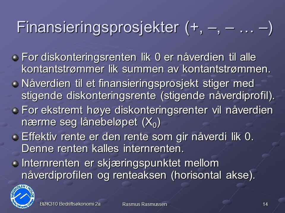14 BØK310 Bedriftsøkonomi 2a Rasmus Rasmussen Finansieringsprosjekter (+, –, – … –) For diskonteringsrenten lik 0 er nåverdien til alle kontantstrømme