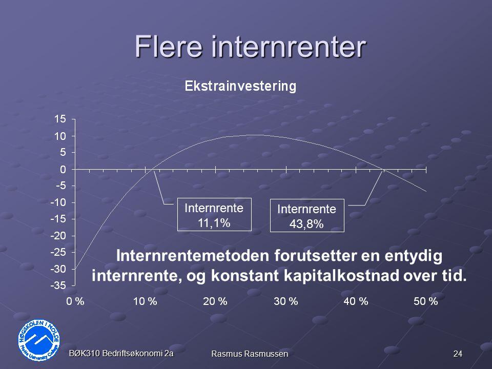 24 BØK310 Bedriftsøkonomi 2a Rasmus Rasmussen Flere internrenter Internrente 11,1% Internrente 43,8% Internrentemetoden forutsetter en entydig internr