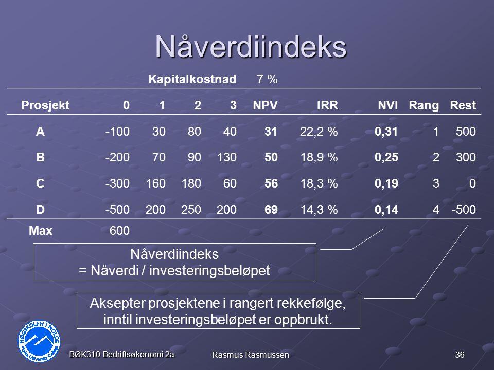 36 BØK310 Bedriftsøkonomi 2a Rasmus Rasmussen Nåverdiindeks Kapitalkostnad7 % Prosjekt0123NPVIRRNVIRangRest A-1003080403122,2 %0,311500 B-200709013050