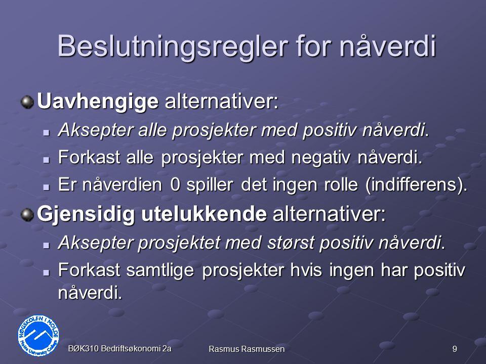 10 BØK310 Bedriftsøkonomi 2a Rasmus Rasmussen 3 uavhengige alternativer Alt.012 NV (10%) A-20012014025 B-39027022037 C-600300350-38 Prosjekt A og B er lønnsomme, siden begge gir positiv nåverdi (NV ved 10% rente).
