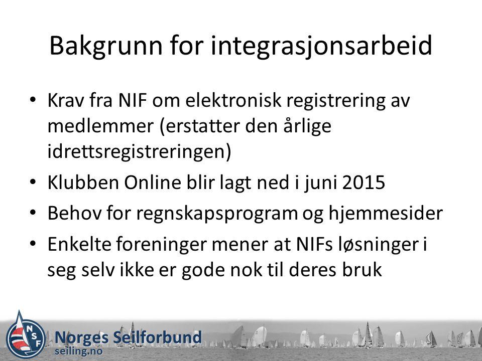 Norges Seilforbund seiling.no Bakgrunn for integrasjonsarbeid Krav fra NIF om elektronisk registrering av medlemmer (erstatter den årlige idrettsregis