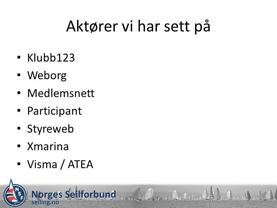 seiling.no Aktører vi har sett på Klubb123 Weborg Medlemsnett Participant Styreweb Xmarina Visma / ATEA