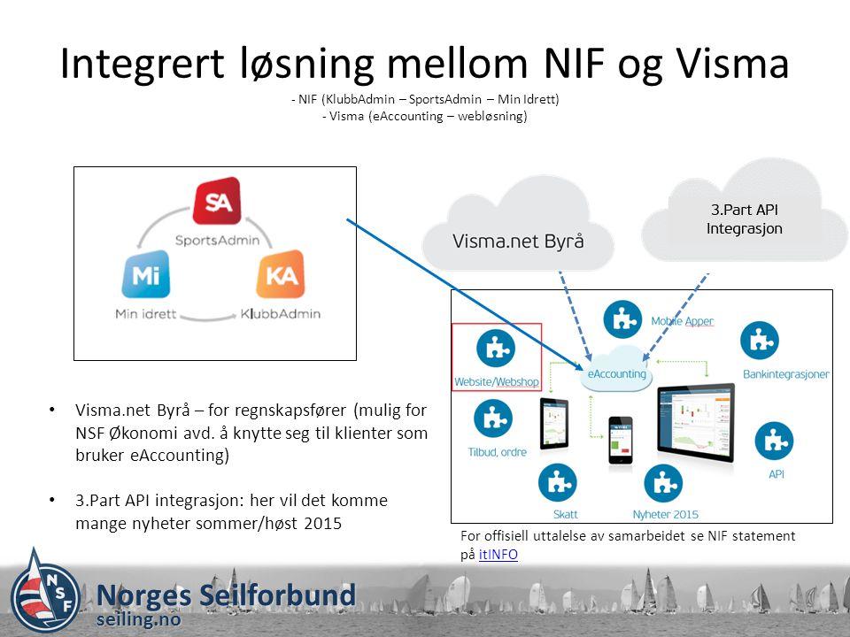 Norges Seilforbund seiling.no Konklusjon NSF/NIF anbefaler Visma eAccounting (kr 139,- pr bruker) Tre valg på nettside: Atea Rapid Klubb Link (samhandlingsplattform: nettside, intranett og klubbstyreløsning).