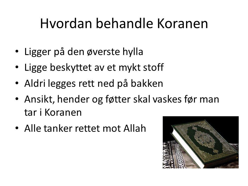 Hvordan behandle Koranen Ligger på den øverste hylla Ligge beskyttet av et mykt stoff Aldri legges rett ned på bakken Ansikt, hender og føtter skal vaskes før man tar i Koranen Alle tanker rettet mot Allah