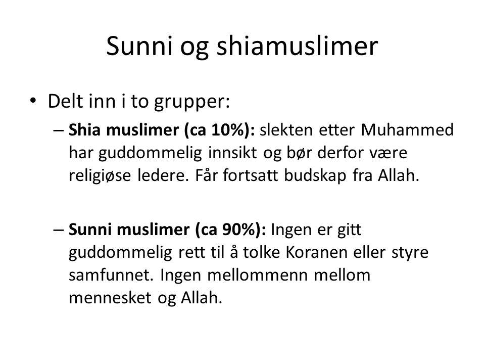 Sunni og shiamuslimer Delt inn i to grupper: – Shia muslimer (ca 10%): slekten etter Muhammed har guddommelig innsikt og bør derfor være religiøse led