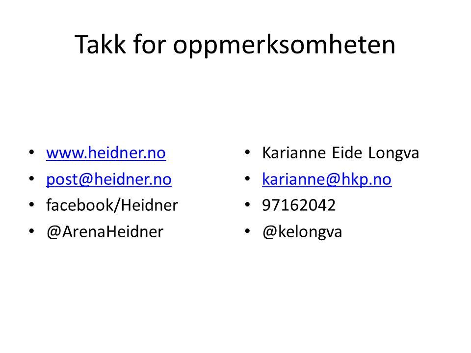 Takk for oppmerksomheten www.heidner.no post@heidner.no facebook/Heidner @ArenaHeidner Karianne Eide Longva karianne@hkp.no 97162042 @kelongva