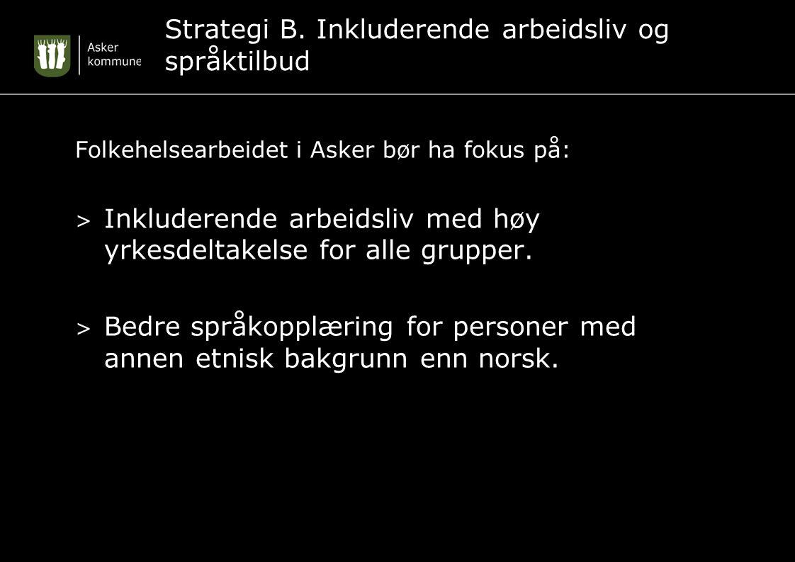 Strategi B. Inkluderende arbeidsliv og språktilbud Folkehelsearbeidet i Asker bør ha fokus på: > Inkluderende arbeidsliv med høy yrkesdeltakelse for a