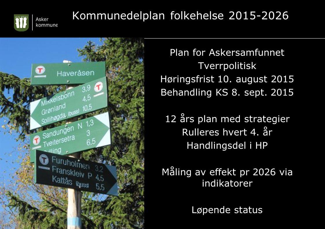 Kommunedelplan folkehelse 2015-2026 Plan for Askersamfunnet Tverrpolitisk Høringsfrist 10. august 2015 Behandling KS 8. sept. 2015 12 års plan med str