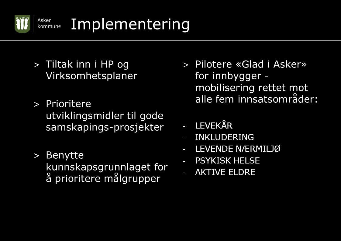 Implementering > Tiltak inn i HP og Virksomhetsplaner > Prioritere utviklingsmidler til gode samskapings-prosjekter > Benytte kunnskapsgrunnlaget for