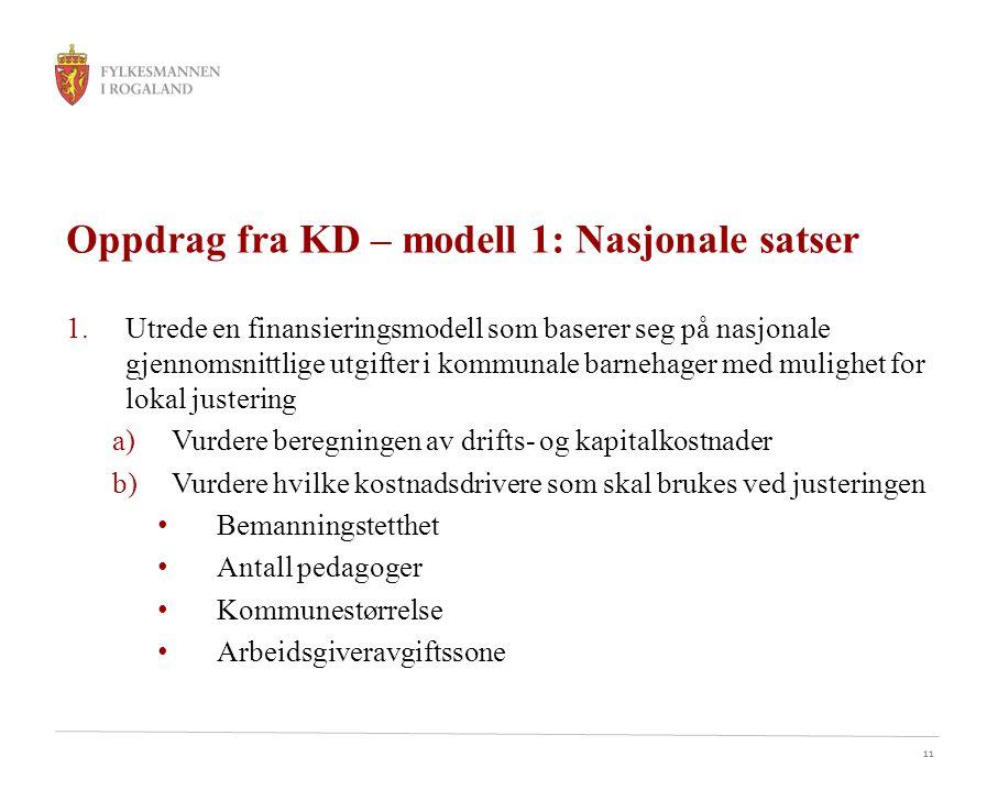 11 Oppdrag fra KD – modell 1: Nasjonale satser 1.Utrede en finansieringsmodell som baserer seg på nasjonale gjennomsnittlige utgifter i kommunale barn