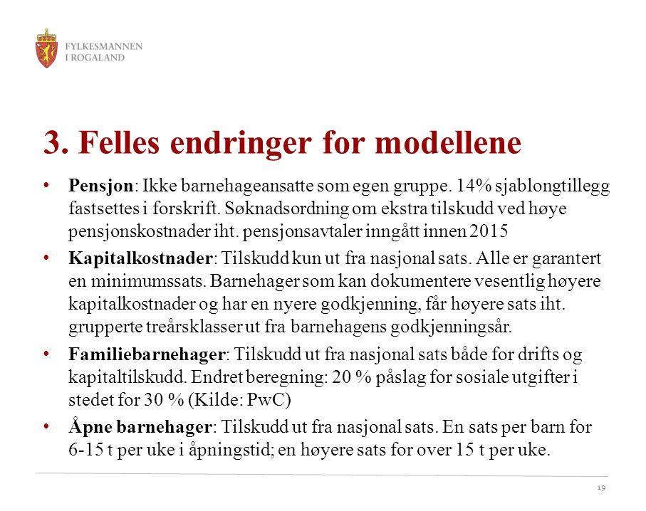 19 3. Felles endringer for modellene Pensjon: Ikke barnehageansatte som egen gruppe. 14% sjablongtillegg fastsettes i forskrift. Søknadsordning om eks